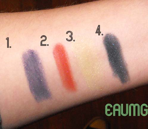 Swatches of High Voltage Shimmery Eyeshadow