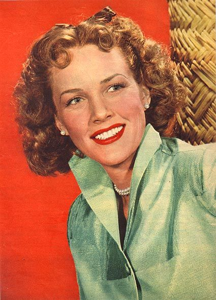 1940's era colored photo of Barbara Britton