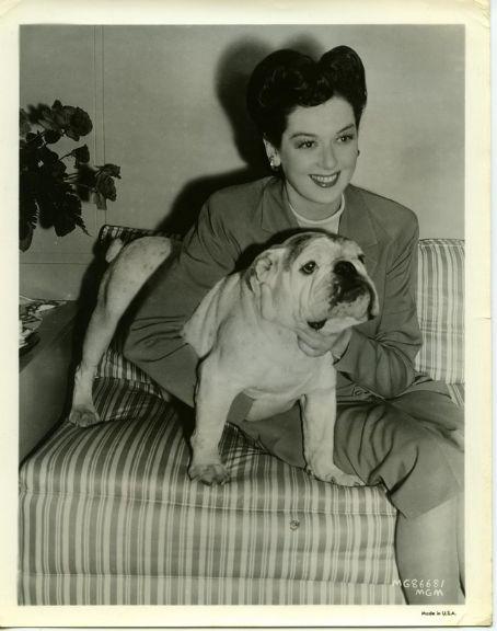 Rosalind Russell & pet bulldog