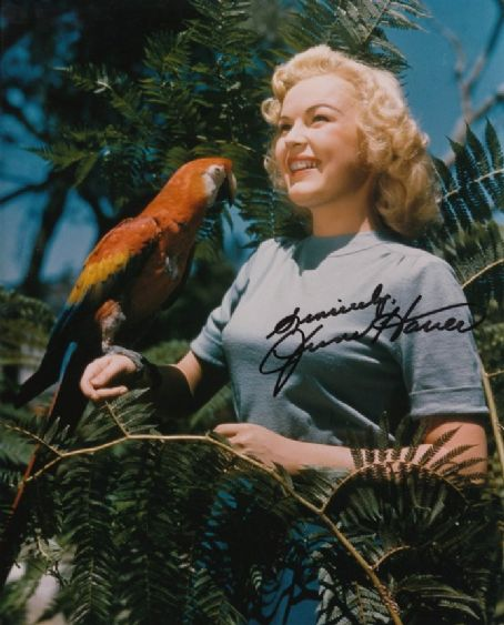 June Haver with parrot