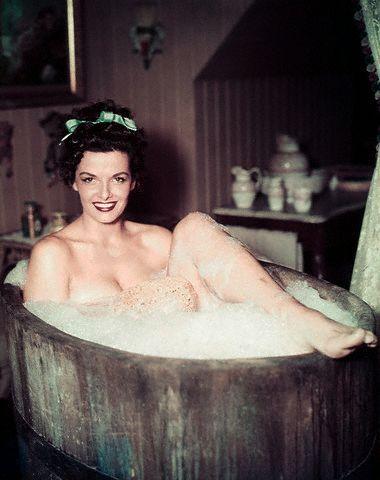 Jane Russell taking a bath
